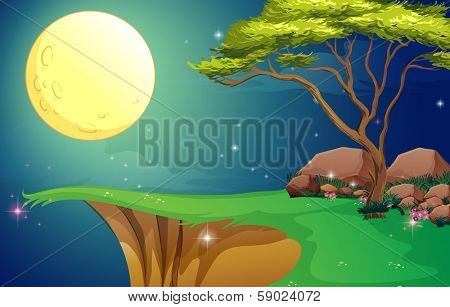 Illustration of a tree at the cliff under the bright fullmoon
