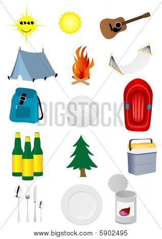 Set of detailed camping and excursion elements