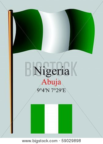 nigeria wavy flag and coordinates against gray background vector art illustration image contains transparency poster