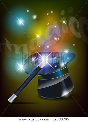 Glossy magic hat and wand - vector illustration poster