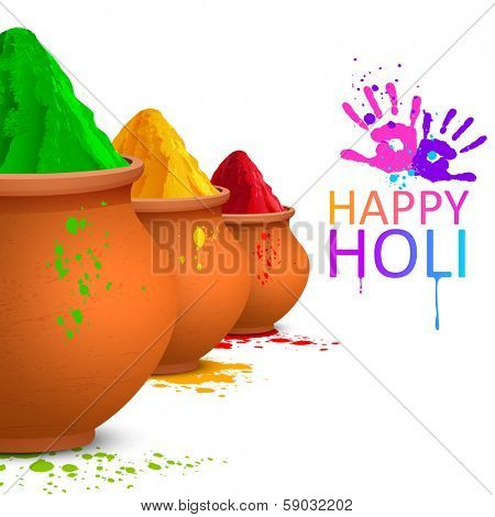 illustration of colorful gulal (colored powders ) for Happy Holi poster