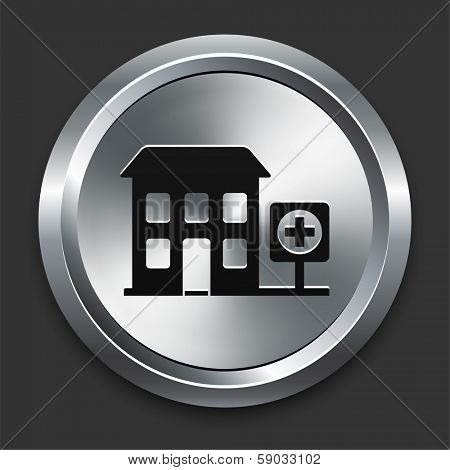 Hospital Icon on Metallic Button Collection poster