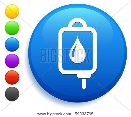 Blodd Drip Icon on Round Button Collection
