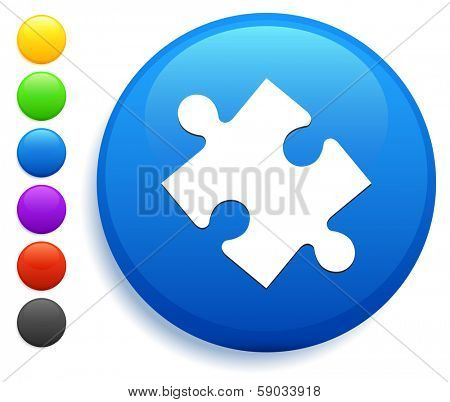 Puzzle Piece Icon on Round Button Collection