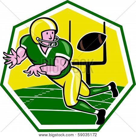 American Football Wide Receiver Catching Ball Cartoon