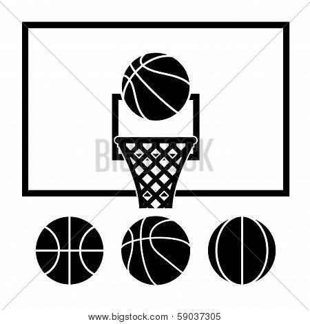 Vector Basketball Net, Backboard Set And Basketball Balls