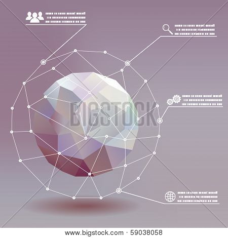 Geometric ball social networks infographics whith icons concept illustration background vector