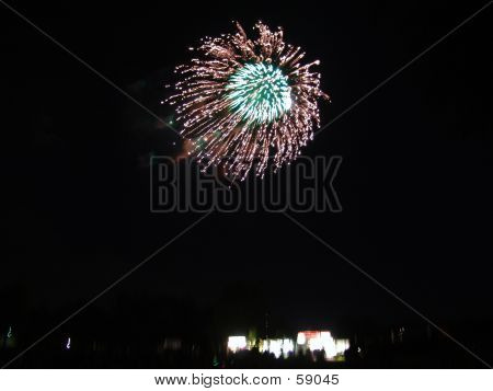 Firework Explosion Over Crowd