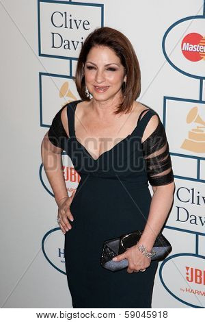BEVERLY HILLS, CA. - JANUARY 25: Gloria Estefan arrives at the Clive Davis and The Recording Academy annual Pre-GRAMMY Gala on January 25th 2014 at the Beverly Hilton in Beverly Hills, California.