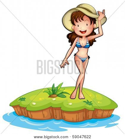 Illustration of an island with a girl wearing a bikini on a white background