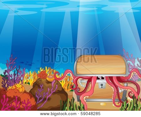 Illustration of a treasure box with an octopus