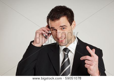 Man talks into mobile phone