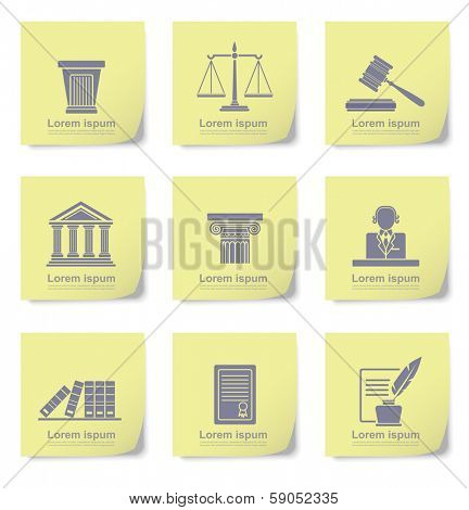 An illustration of law icons on yellow slips