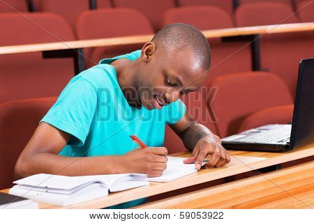 handsome male african college student writing classwork