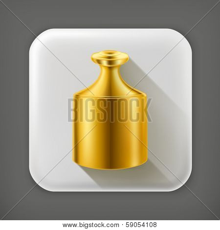 Gold highest standard, long shadow vector icon