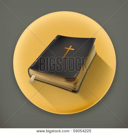 Bible, long shadow vector icon
