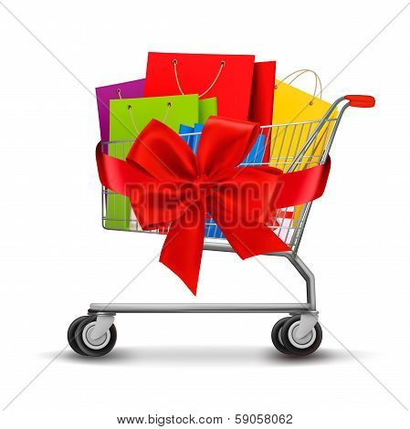 Shopping Cart Full Of Shopping Bags And A Gift Bow. Concept Of Discount. Vector.