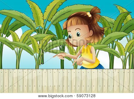 Illustration of a young girl at the banana plantation
