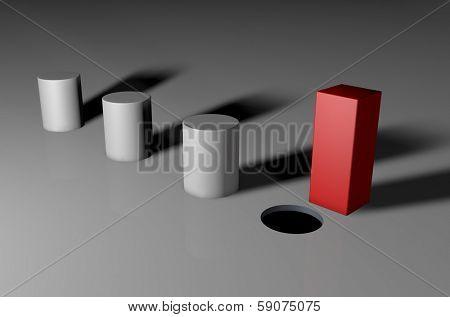 3d visual of a square unique peg