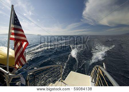 Looking off the back of a Catamaran. Maui, Hawaii