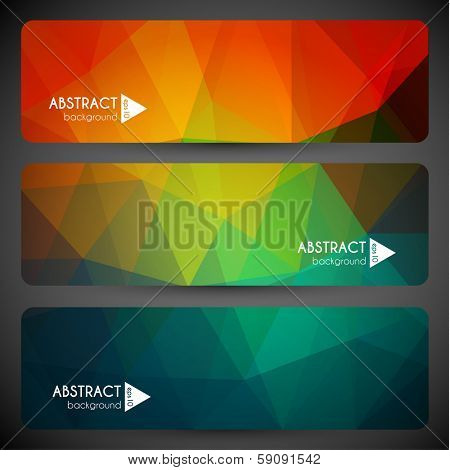 Abstract geometric triangular banners set - eps10 vector