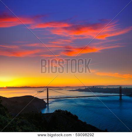 Golden Gate Bridge San Francisco sunrise California USA from Marin headlands