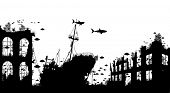 Editable vector foreground silhouette of marine life around a shipwreck and underwater city ruins poster