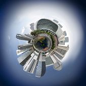 Singapore downtown skyline with skyscrapers, 360 degree miniplanet (Elements of this image furnished by NASA) poster