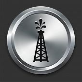 Oil Drill Icon on Metallic Button Collection poster