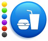 Fast Food Icon on Round Button Collection poster