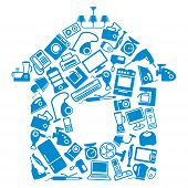 Images of home appliances and electronics in form of house poster