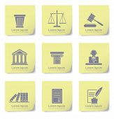 An illustration of law icons on yellow slips poster