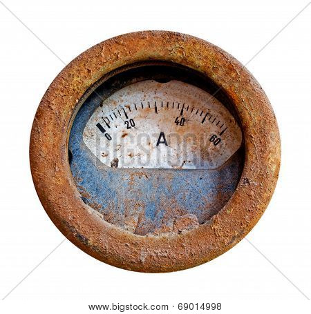 Old Rusty Meter On White Background