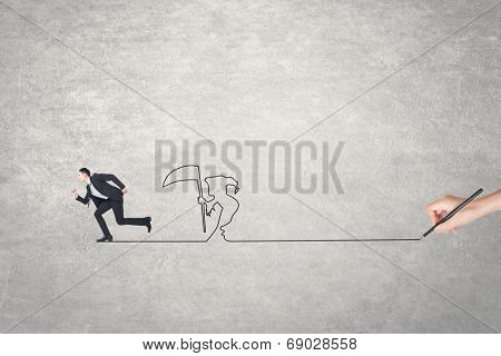 Concept of deadline, businessman running and a grim reaper after him.