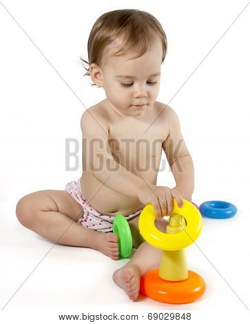Baby playing with rings toy