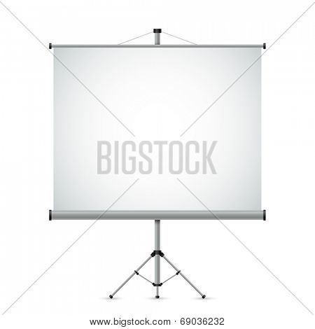 Blank white projection screen vector template.