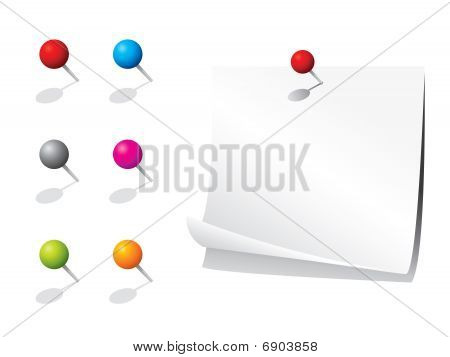 Blank note paper and pins