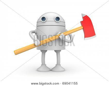 Robot with axe