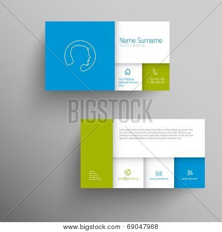 Modern blue green simple business card template with flat mobile user interface