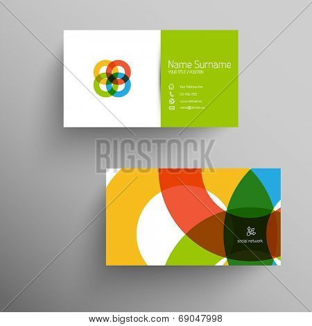 Modern simple light business card template with flat user interface