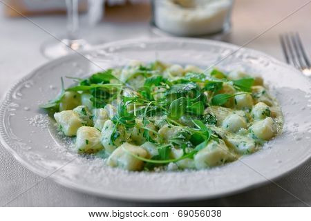 Gnocchi with cheese sauce, spring spinach and arugula