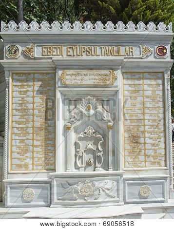 Closeup detail of old marble memorial to Turkish Sultans in district of Eyup poster