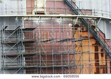 Old oil tank in repair