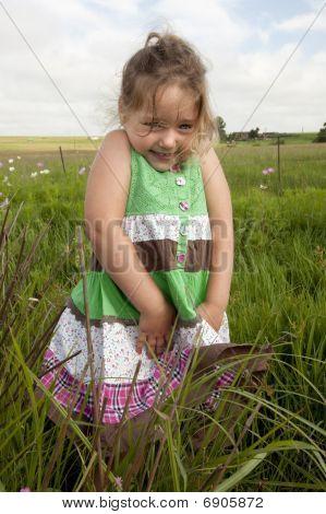 Little girl in farmland