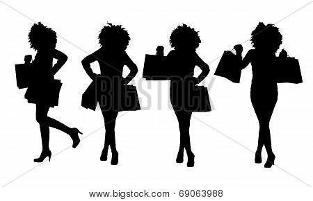 Silouette Woman With Shopping Bags