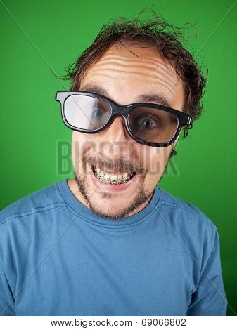 Thirty Year Old Man With 3D Glasses Is Watching A Funny Movie
