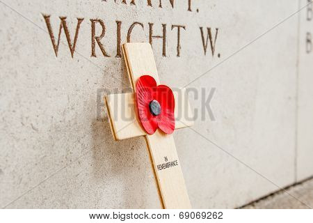 Poppy At The Menin Gate In Ypres Flander Belgium