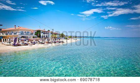 Beautiful Pefkochori beach on Kasandra peninsula, Halkidiki, Greece.
