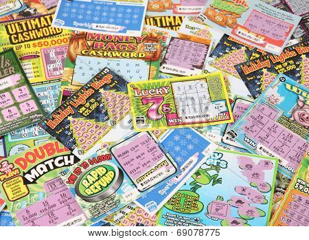BOISE, IDAHO - DECEMBER 21, 2013: A pile of Idaho Lottery scratch lottery tickets.