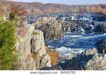 Great Falls National Park on Potomac River in Autumn - Virginia USA